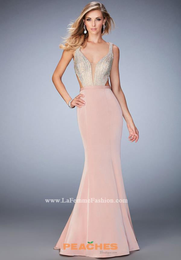 La Femme Fitted Jersey Dress 22767