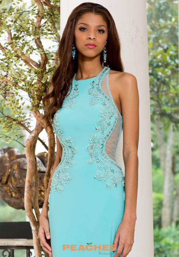 Sean High Neckline Fitted Aqua Dress 50841