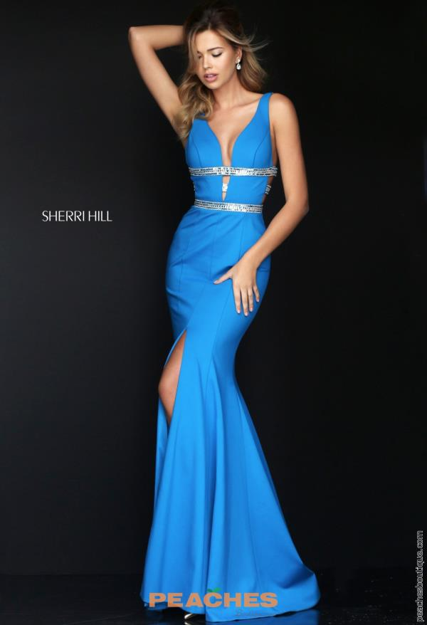 Sherri Hill Fitted V- Neckline Dress 50184