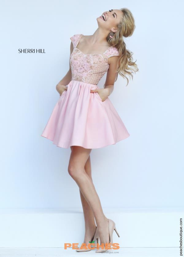 Beaded Cap Sleeved Sherri Hill Short Dress 50054