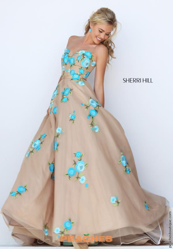 Sherri Hill Tulle Skirt A Line Nude Dress 50203