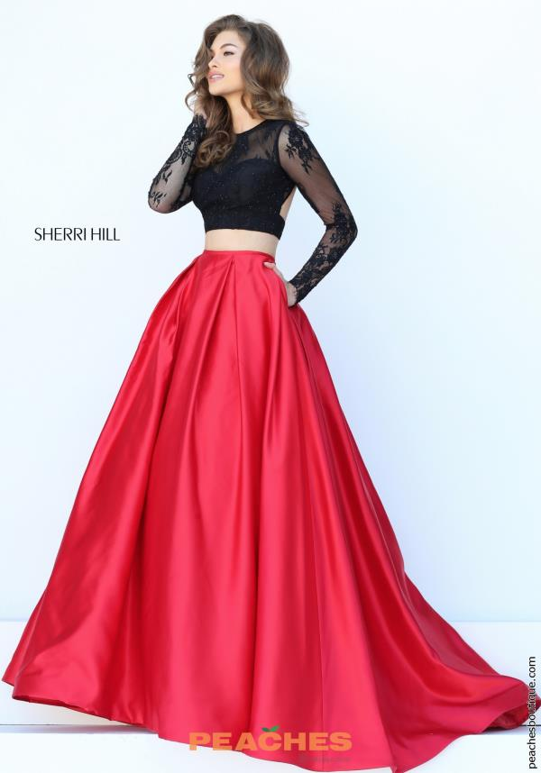 Long Red A Line Sherri Hill Dress 50357