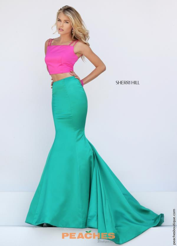 High Neckline Long Sherri Hill Dress 50466