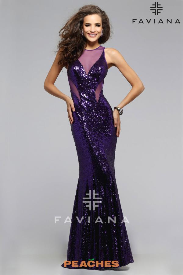 Faviana Sheer Cut Outs Dress 7331