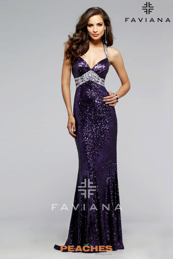 Faviana Sexy Open Back Beaded Navy Dress 7507