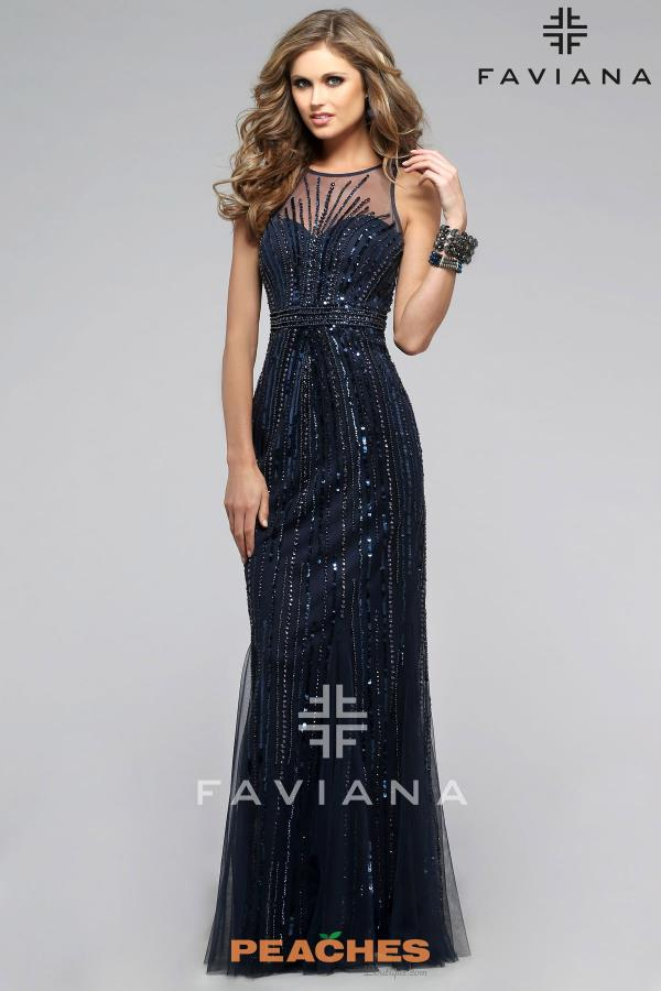 Faviana Navy High Neckline Dress S7596