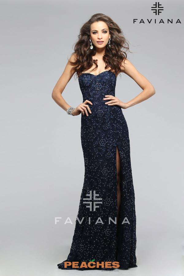 Faviana Fitted Long Navy Dress S7601