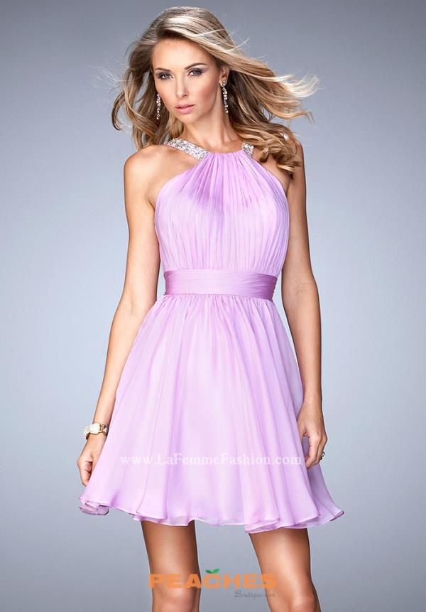 La Femme Short Elegant Flowy Dress 21885