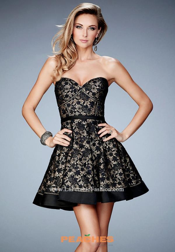 La Femme Short Semi Formal Black Dress 22235