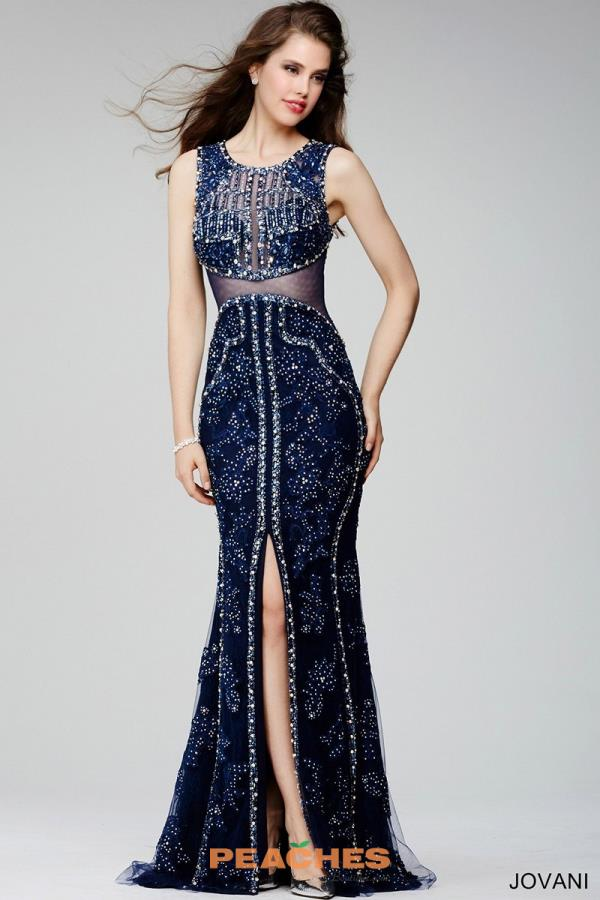 Jovani Beaded Long Navy Dress 27608