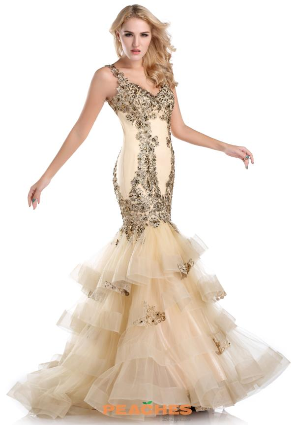 Romance Couture Gold Long Dress RD1586
