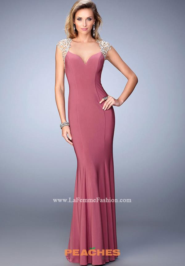 Cap Sleeved Long La Femme Dress 21529