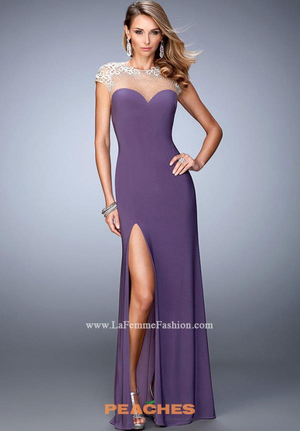 La Femme Sleeved Navy Fitted Dress 21590
