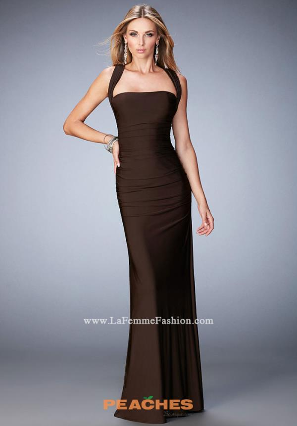 La Femme Jersey Formal Brown Dress 21730