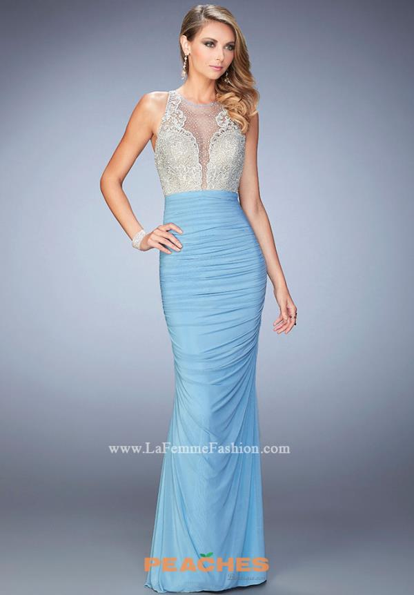 La Femme Long Beaded Dress 22073