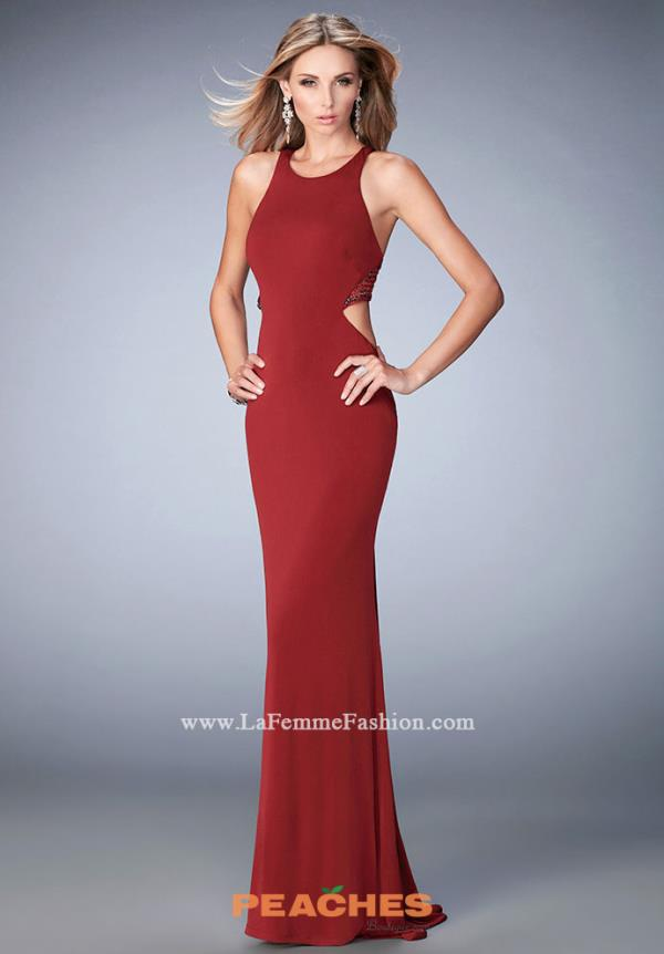 La Femme High Neckline Fitted Dress 22288