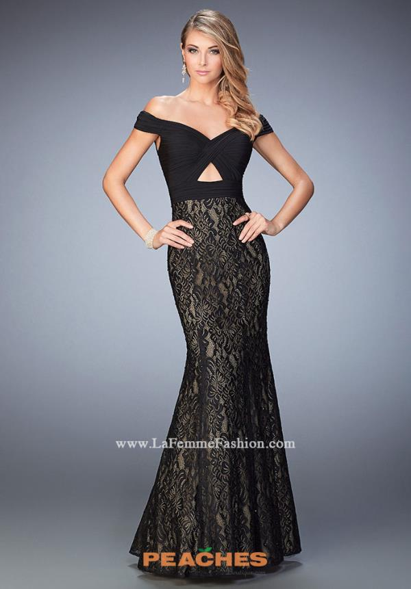 La Femme Black Mermaid Dress 22342
