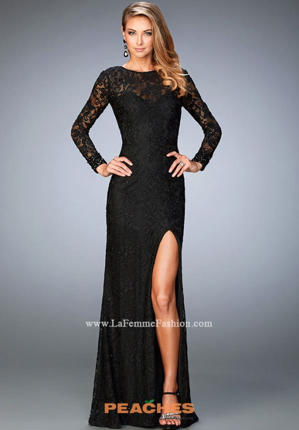 Black Sleeved La Femme Dress 22409