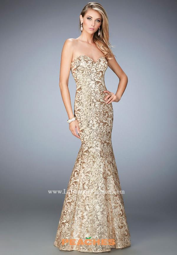 La Femme Gold Fitted Dress 22434