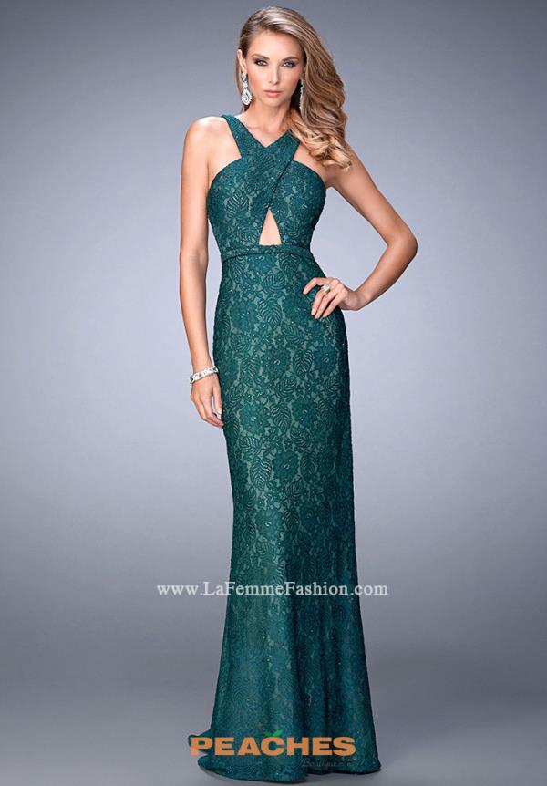 Green Fitted Lace La Femme Dress 22614
