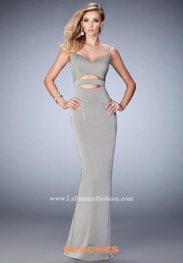 La Femme Fitted Satin Dress 22689