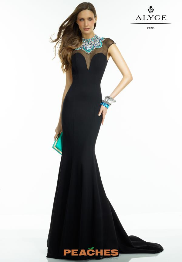 Alyce Paris Black Fitted Dress 2558