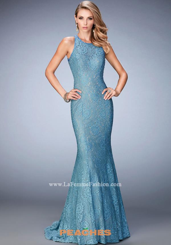 La Femme Long Blue Dress 22811