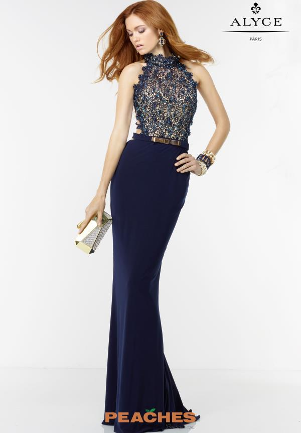 Sexy Back Fitted Navy Alyce Paris Dress 6529