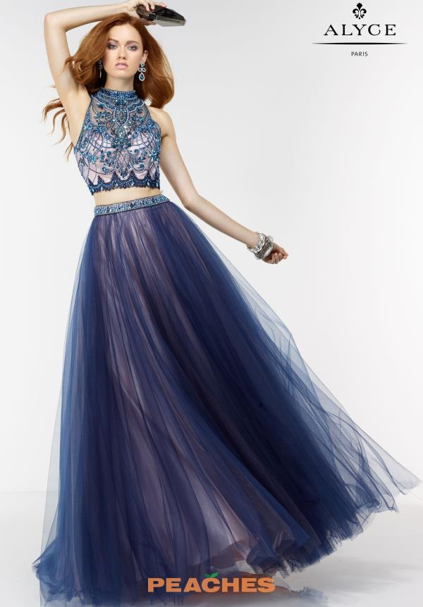 Navy Tulle A Line Alyce Paris Dress 6530