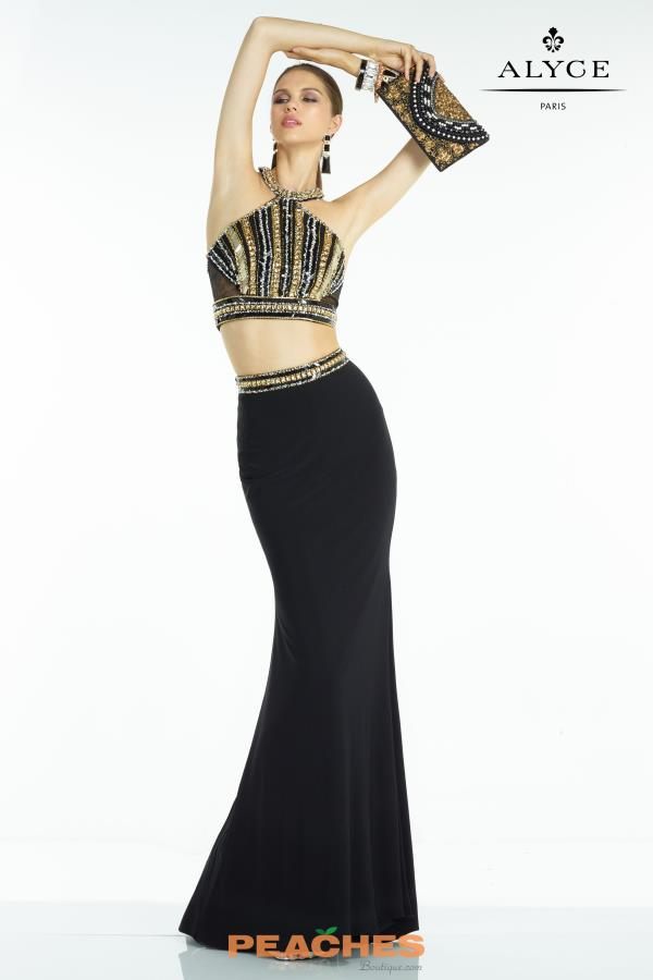 Alyce Paris Black Beaded Long Dress 6578