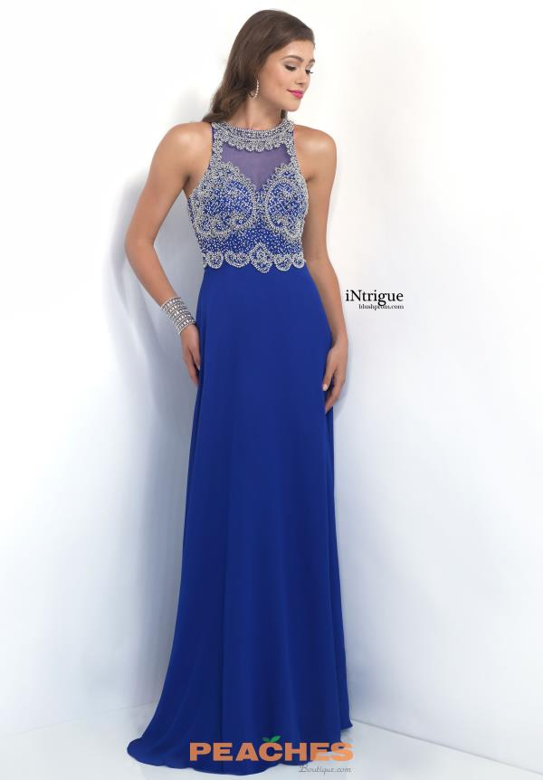 Intrigue by Blush High Neckline Beaded Dress 151