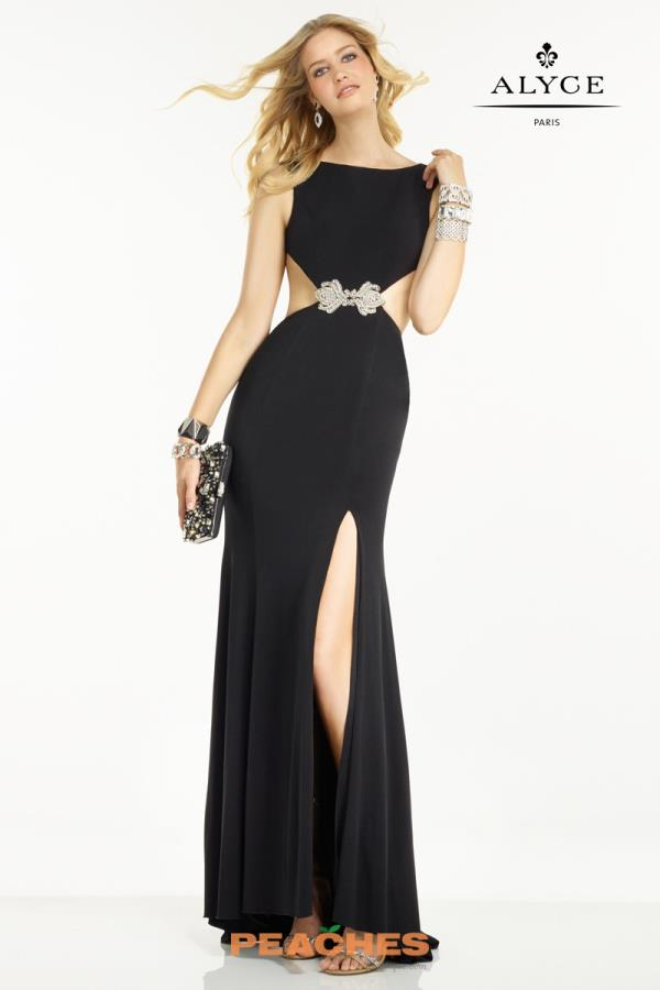 B'Dazzle High Necklie Long Black Dress 35773