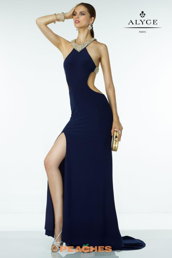 B'Dazzle Navy Open Back Jersey Dress 35774