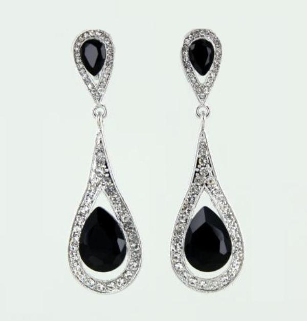Sparkling Black Tear Drop Earrings 5612