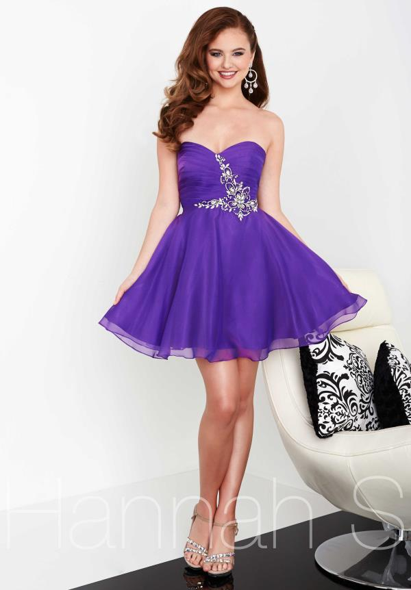 Hannah S Short Navy Chiffon Dress 27054
