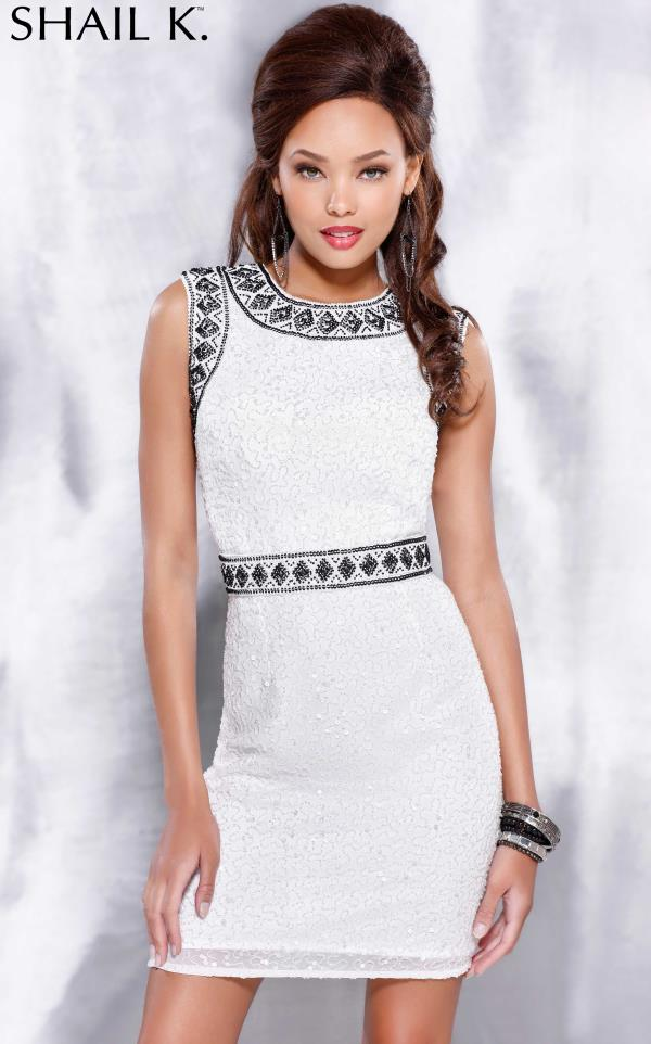 Shail K High Neckline Sequins Dress 3715