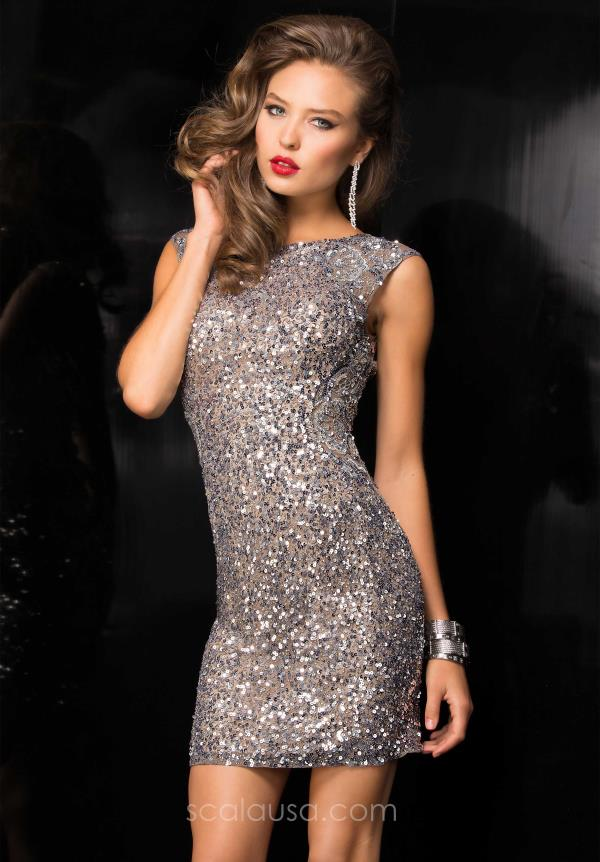 Scala Sequin Cap Sleeve Short Dress 48484