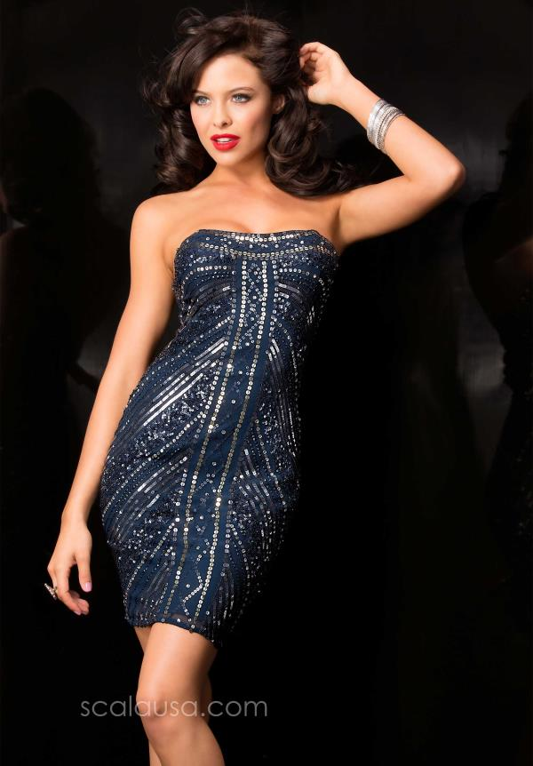 Scala Navy Sequined Cocktail Dress 47484