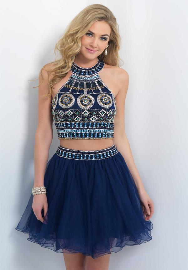 Blush Beaded Crop Top Navy Party Dress 10077
