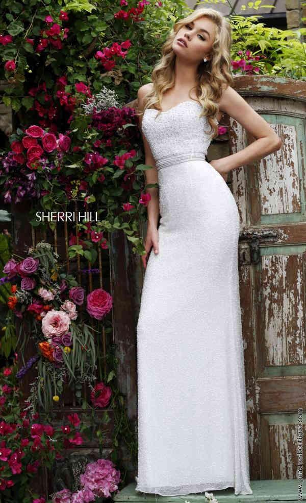 Sherri Hill Ivory Fitted Long Dress 11305
