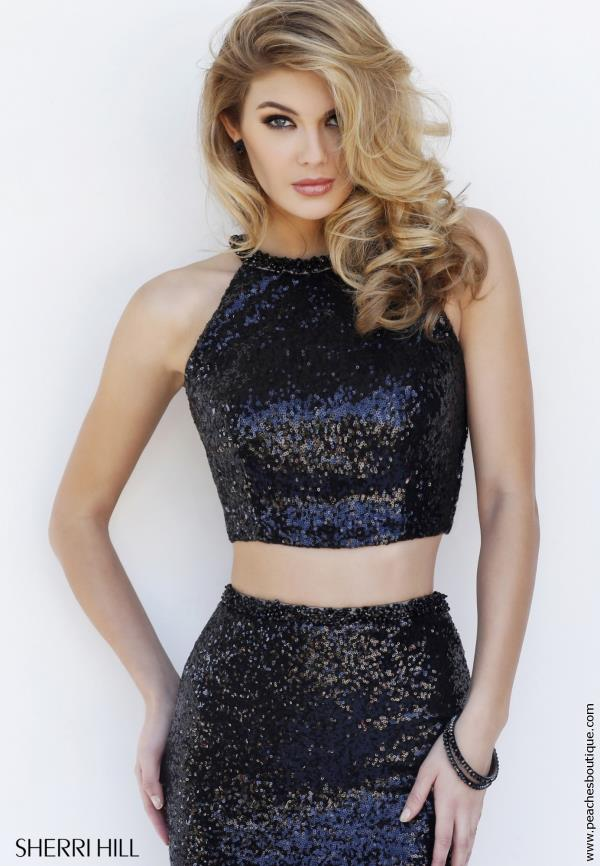 Sherri Hill Black Long New Year's Eve Dress 32297