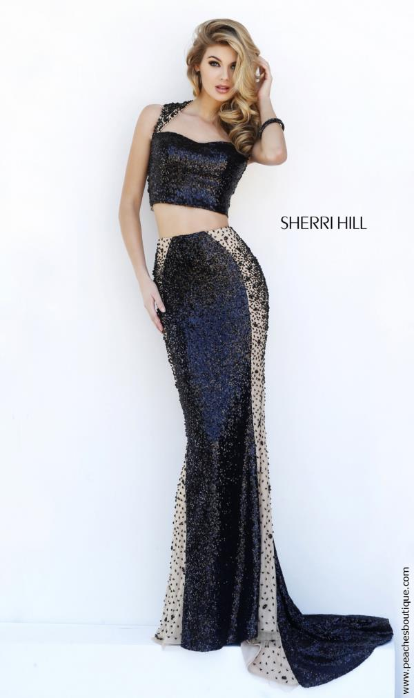 Sherri Hill Sleeved Black Dress 32298