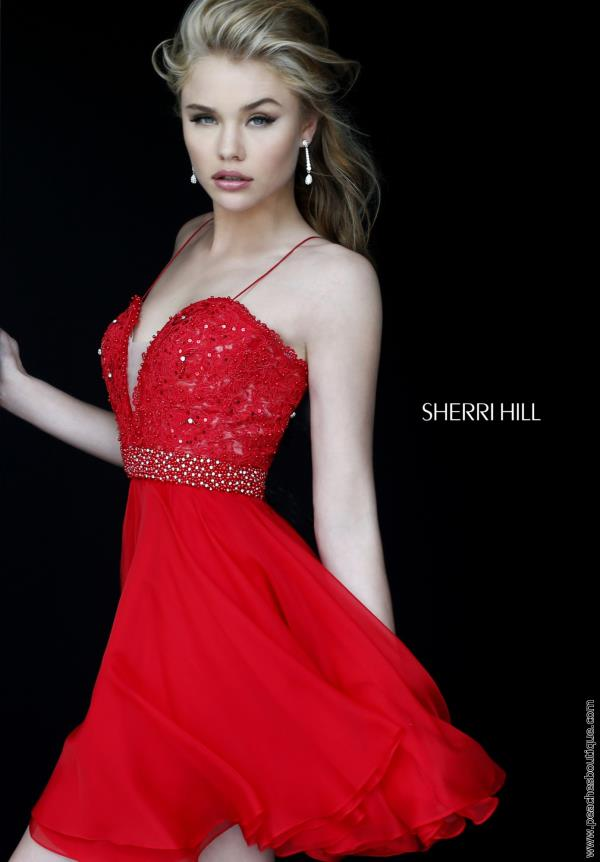 Sherri Hill Short A Line Chiffon Dress 11307