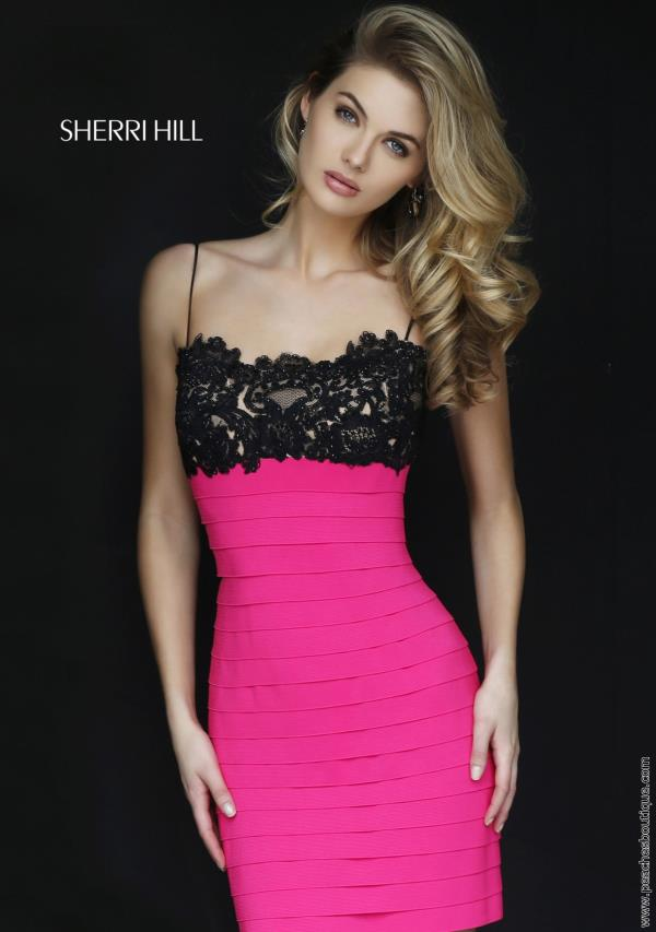 Sherri Hill Short Lace Bandage Fitted Dress 32285