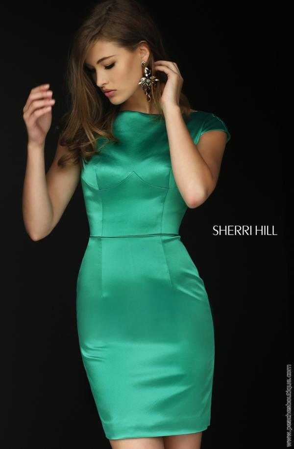 Cap Sleeve Satin Sherri Hill Short Dress 32295