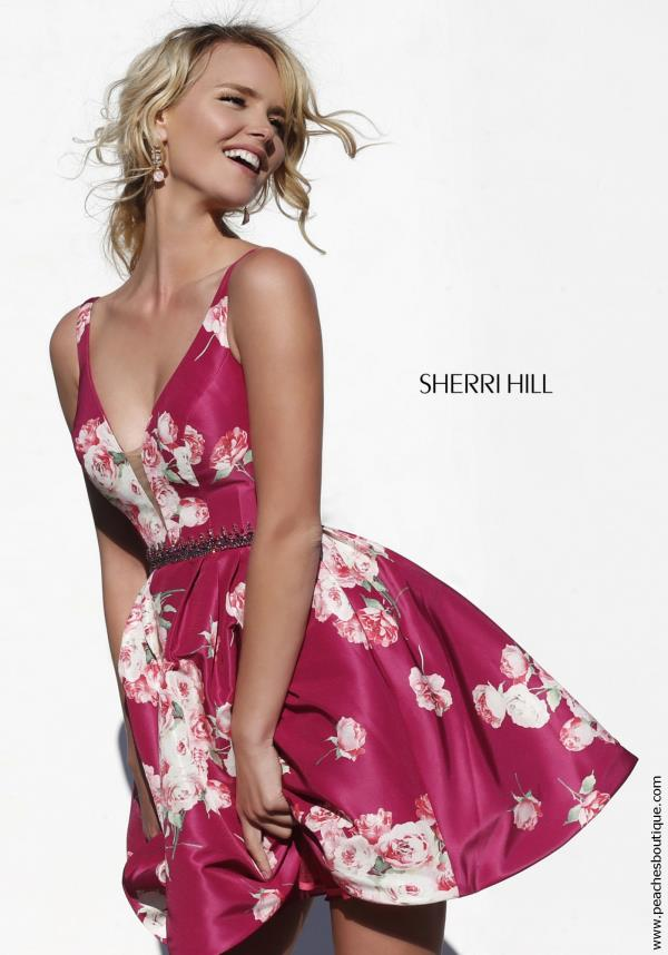 Sherri Hill Short Plunging Neckline Print Dress 32321