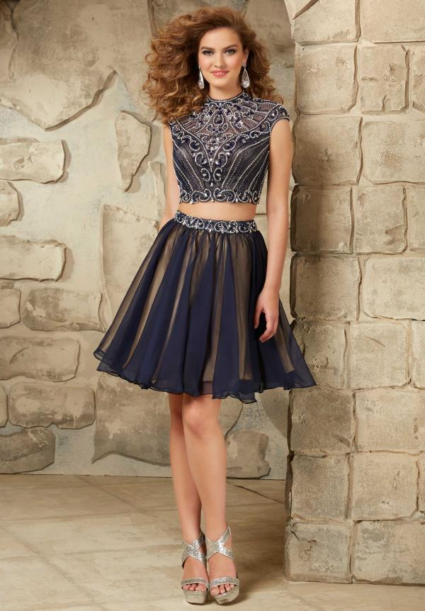 Two Piece Mori Lee Sticks & Stones Navy Dress 9350