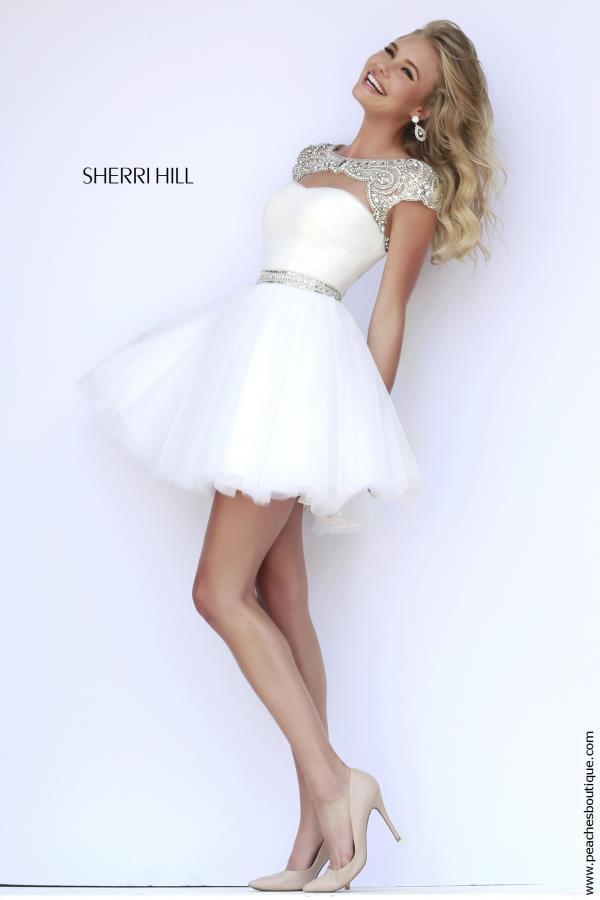 Sherri hill short beaded graduation dress 11191 for Sherri hill short wedding dress