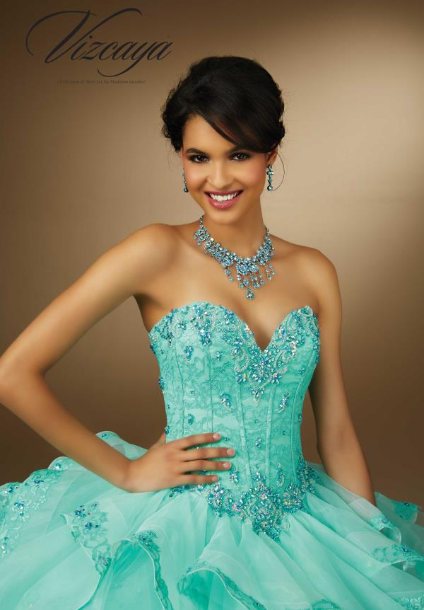 Vizcaya Beaded Lace Aqua Dress 89056