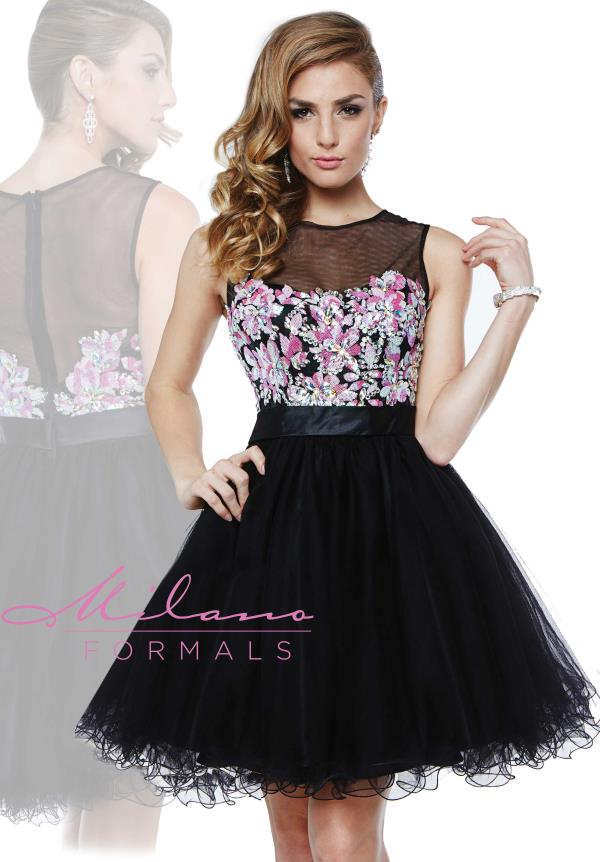 Milano Formals Black Tulle Dress E1841
